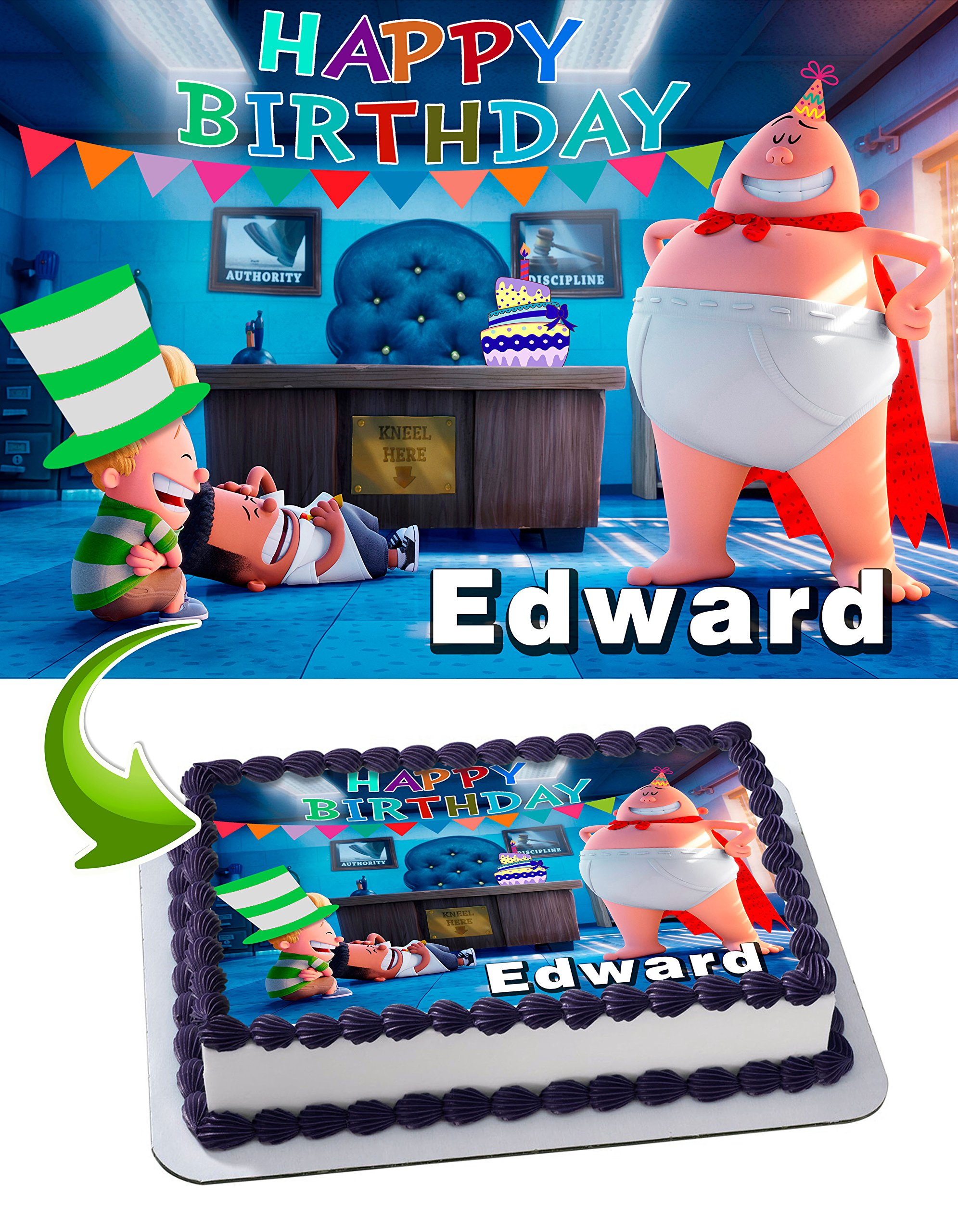319034507f8a Get Quotations · Captain Underpants Birthday Cake Personalized Cake Toppers  Edible Frosting Photo Icing Sugar Paper A4 Sheet 1