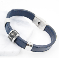 Fashion 2019 mens stainless steel slide bead charms blue leather bracelet