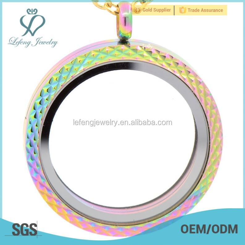 2015 colorflu design floating glass locket for kids, rainbow charm locket, long chain locket pendant