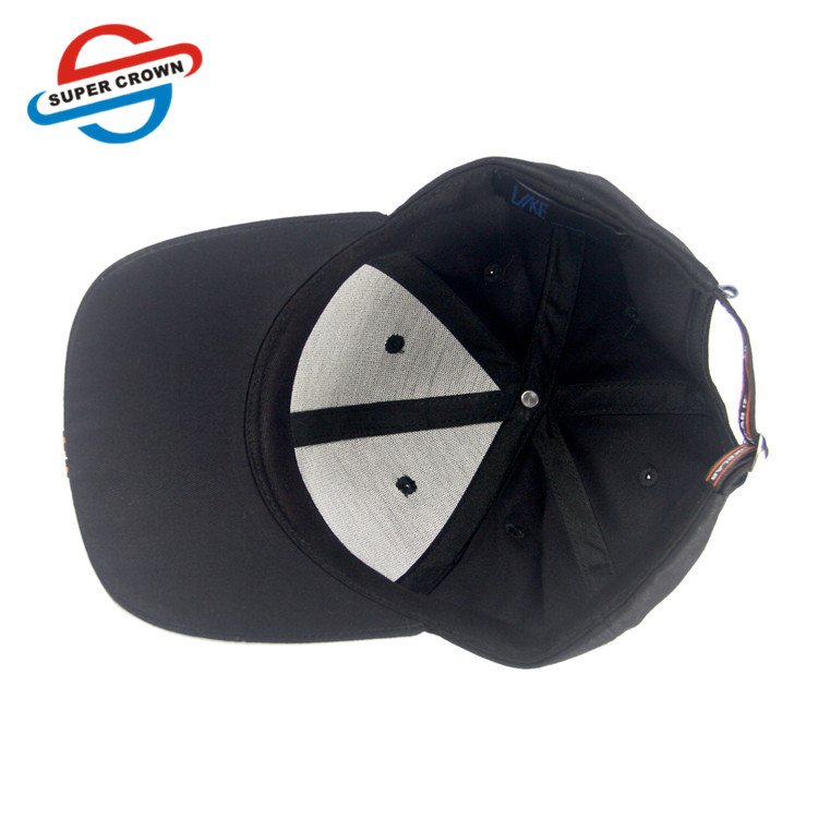 Wholesale High Quality Promotional Black 6 Panel Fitted 3D embroidery Logo  Hat Custom Baseball Cap Hats