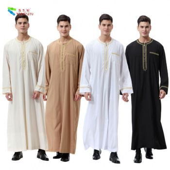 YIZHIQIU Arab Islamic Costumes Robe Growth Gowns Fasting Muslim Men Clothing
