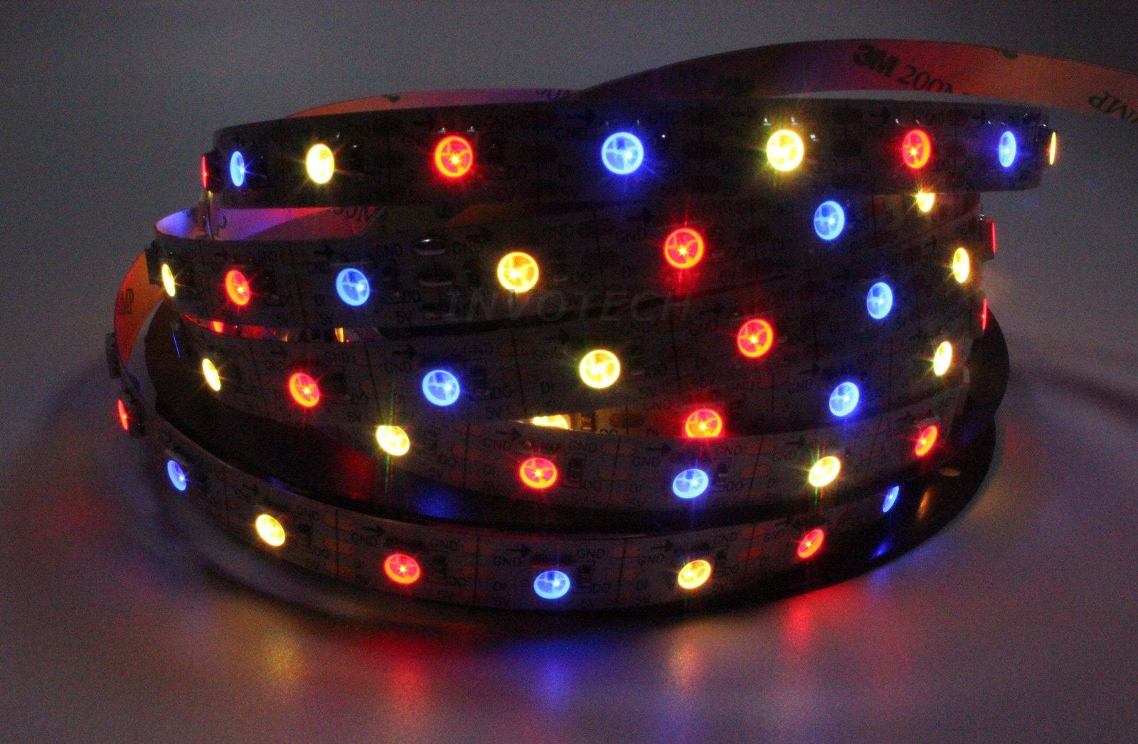 INVOLT 16.4ft 300 LEDs WS2812B Individually Addressable 5050 RGB LED Strip Light LED Pixel Flexible Lamp Waterproof IP65 White PCB