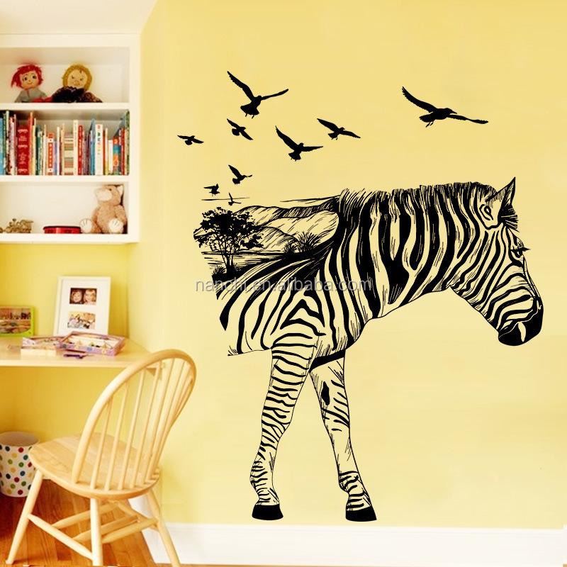 Creativo stereo zebra wall stickers protezione ambientale autoadesivi smontabili della parete - Wall stickers camera da letto ...