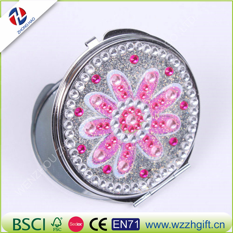 Brand Quality Metal Makeup Mirror Bling Crystal Rhinestone Flower Beauty Make up Compact Pocket Mirror Gift for Wedding Party