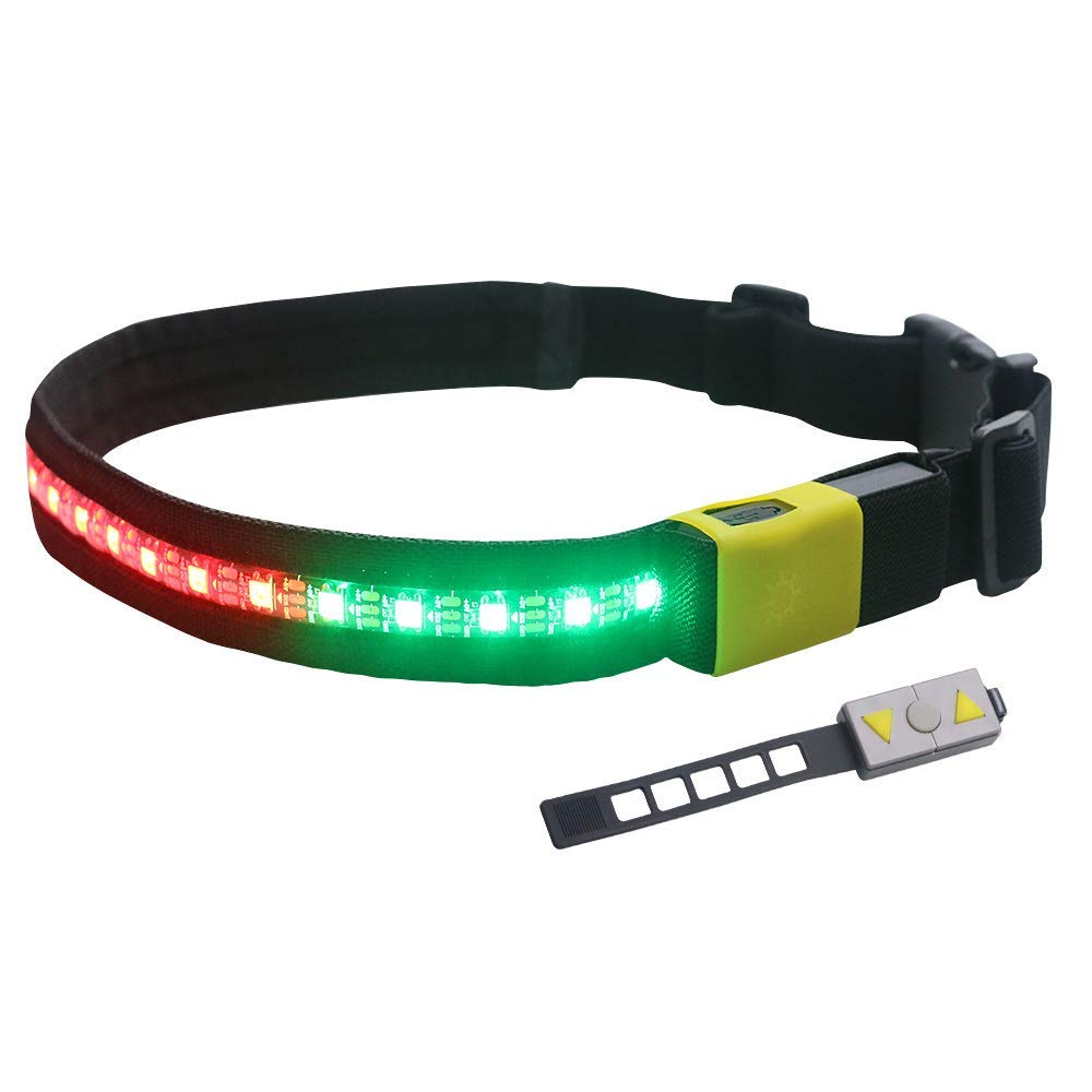 Globalstore LED Running Belt, USB Rechargeable Safety Running Belt Reflective Gear, Warning Light Waist Belt with Remote Control for Running, Walking, Jogging, Cycling Adjustable Band Fits Women Men
