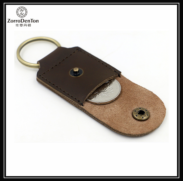 unisex crazy horse genuine leather keychain with coin pockets