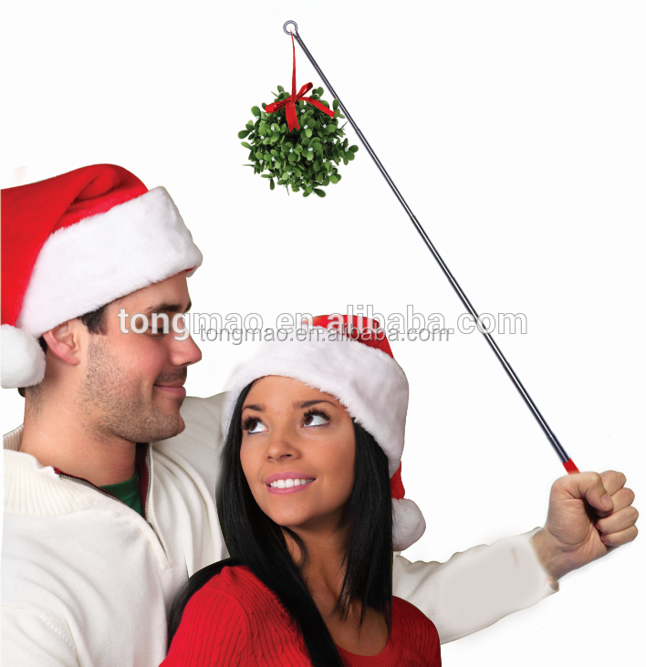 2016 new product popular DIY Christmas game props handheld mistletoe, funny lovely kissing ball