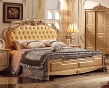 solid wood italian bedroom set gold color 5pcs for full set