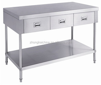 304 Restaurant Portable Stainless Steel Work Table 3 Drawers Manufacturer Kicthen Working Bench With