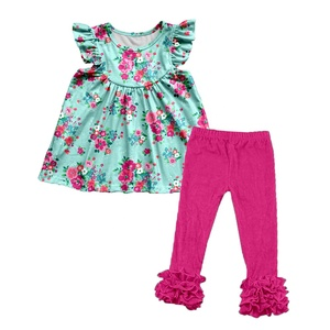 New design spring Bangladesh kids clothes outfits icing capri pants clothing