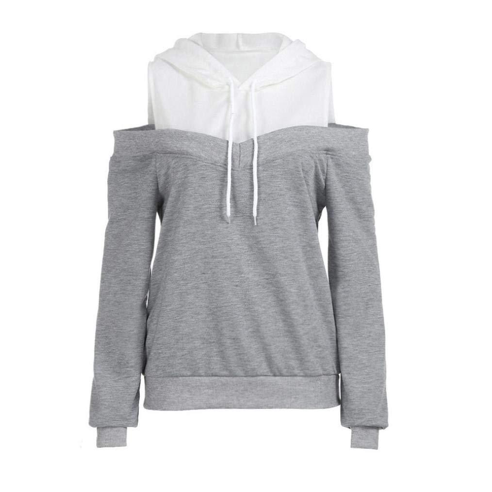 a4357cf153a Women Hoodie Sweatshirt Daoroka Ladies Long Sleeve Off Shoulder Patchwork  Drawstring Pullover Hooded Blouse