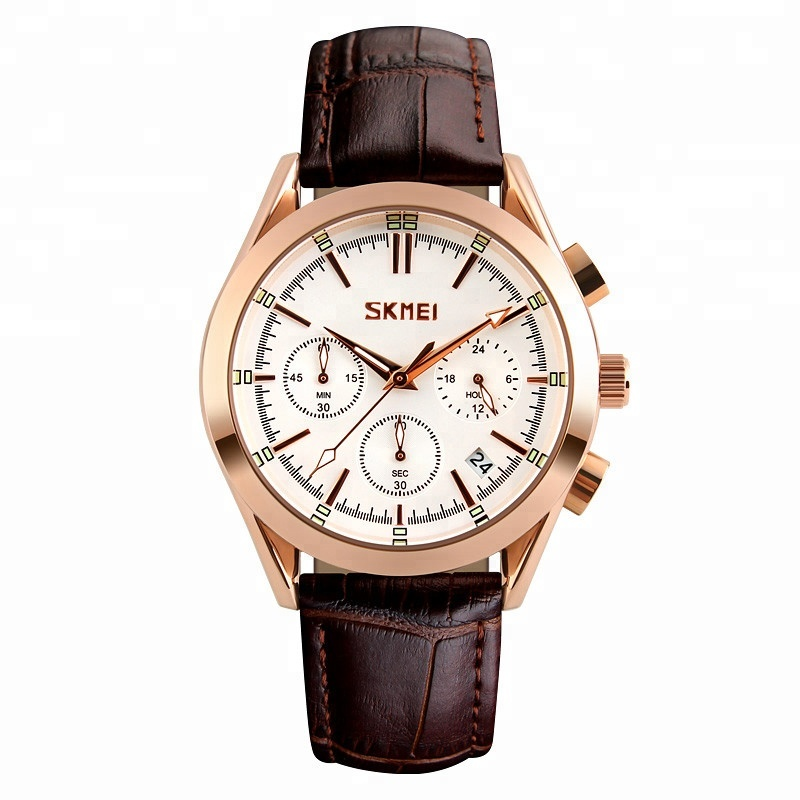 Skmei 9127 new arrival casual leather band 3 atm water resistant six hands quartz japan movt watch for mens фото
