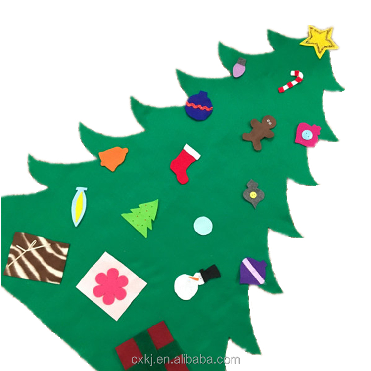 Felt Toddler Christmas Tree, fun toy holiday game kids baby play activity gift idea mini fabric portable wall decoration craft