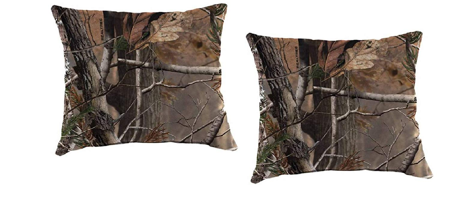"""Set of 2-16"""" Toss Pillow Indoor/Outdoor Patio in Real Tree - Non-Allergenic Polyester Fiberfill, Resists Fading, Mold and Mildew"""