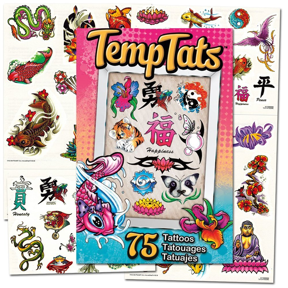 Traditional Japanese Temporary Tattoos Costume Set -- 75 Asian Tattoos  (Dragons, Koy Fish