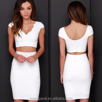 d1ca77c4cded New arrival low back design scalloped V neckline two piece bodycon dress in  white