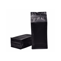 250g 500g 1000grams Coffee Zipper Bag With Valve Matte Black Block Coffee Beans Ziplock Pouches