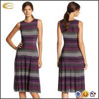 OEM wholesaler Women's Chevron Printed Sleeveless evening dress suit with Solid Jacket