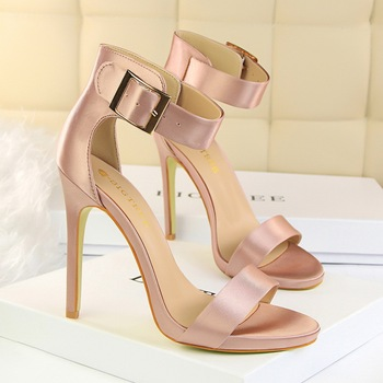 b81afa0191e Fashion colorful sexy high quality leather silk belt metal buckle high heel  shoes sandals