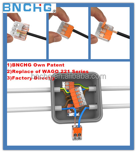 NEWEST Automotive Application wago 221 wire spring terminal connector 450V 32A