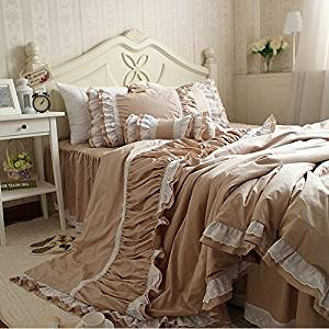 TideTex European Luxury Bedding 4pc Cute Girl Flouncing Duvet Cover Romantic Princess Lace Bedding Fashion Modern Style Solid Color Bed Skirt Cotton Home Textiles (Queen, photo color)