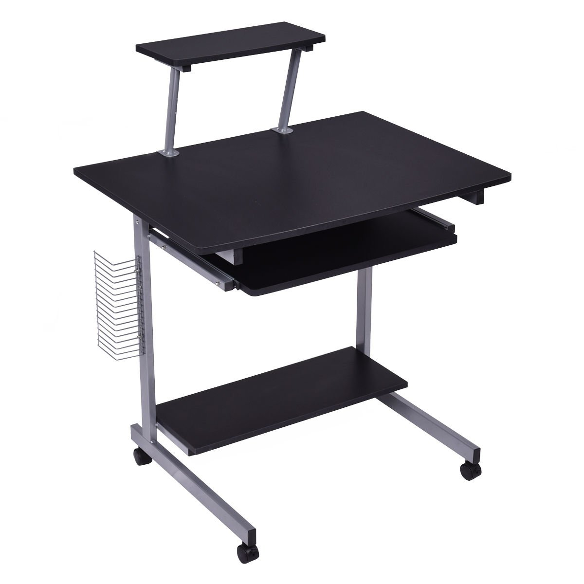 Tangkula Computer Desk Home Office Mobile Compact Workstation Laptop PC Table Table with Wheels Student Dom Apartment Compact Portable Sturdy Writing Table (black with printer shelf)