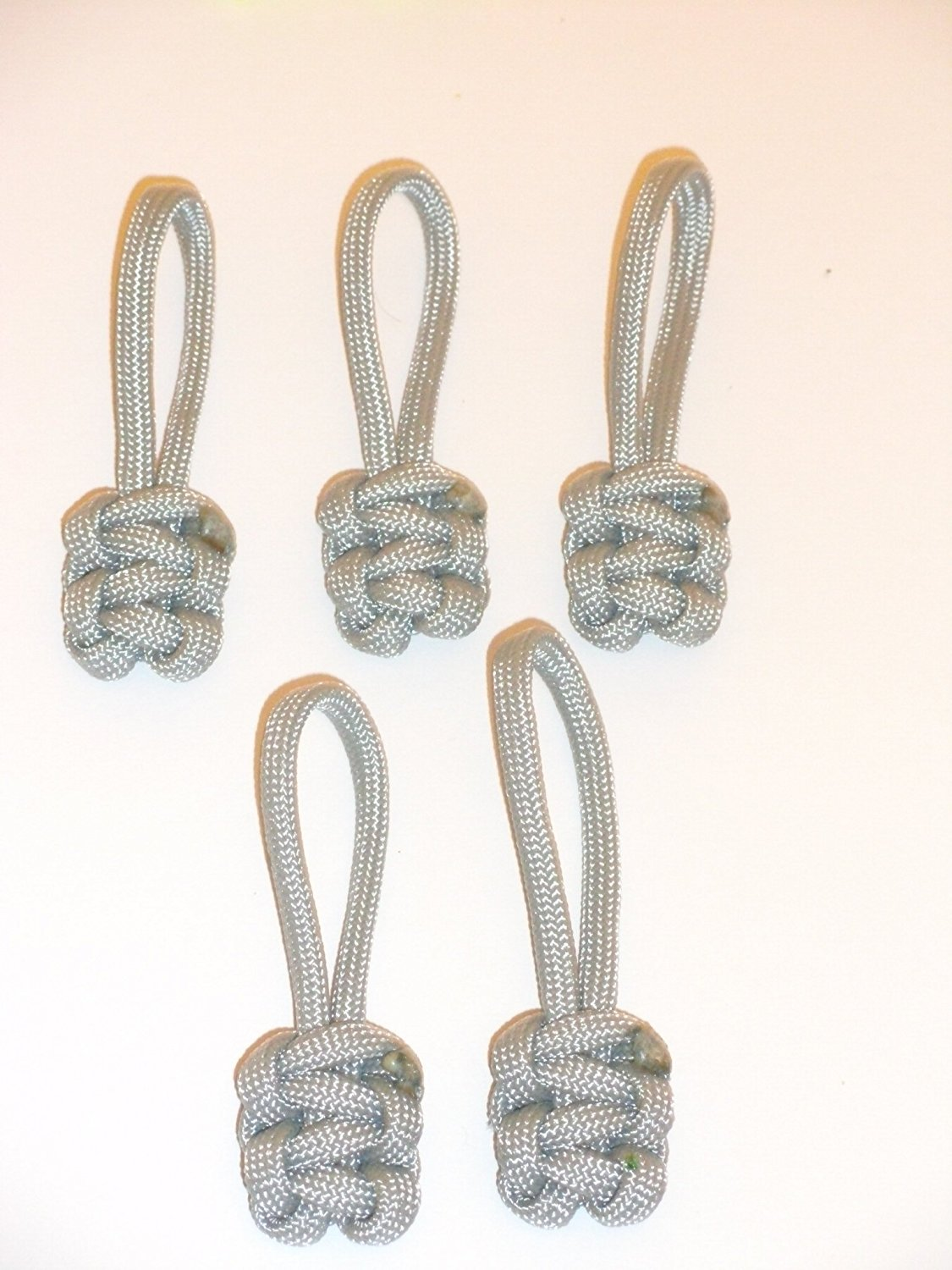 RedVex Paracord Zipper Pulls / Lanyards - Lot of 5 - ~2.5 - Gray