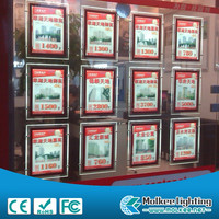 Edgelight CF9 Real estate agent led window display slim double side crystal light box