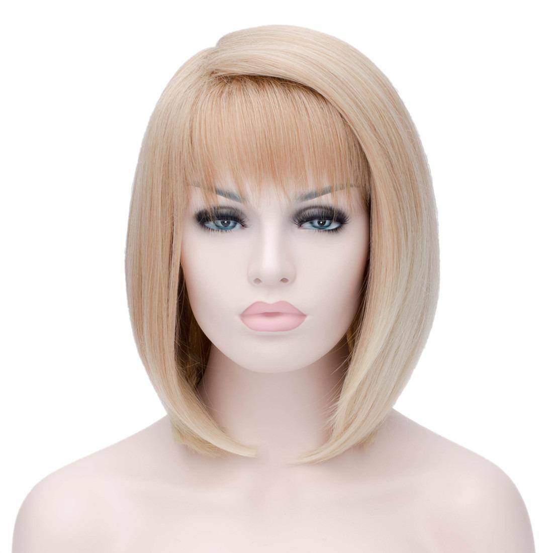 Buy Women Light Brown 30cm Straight Bangs Side Parting Cosplay Bob