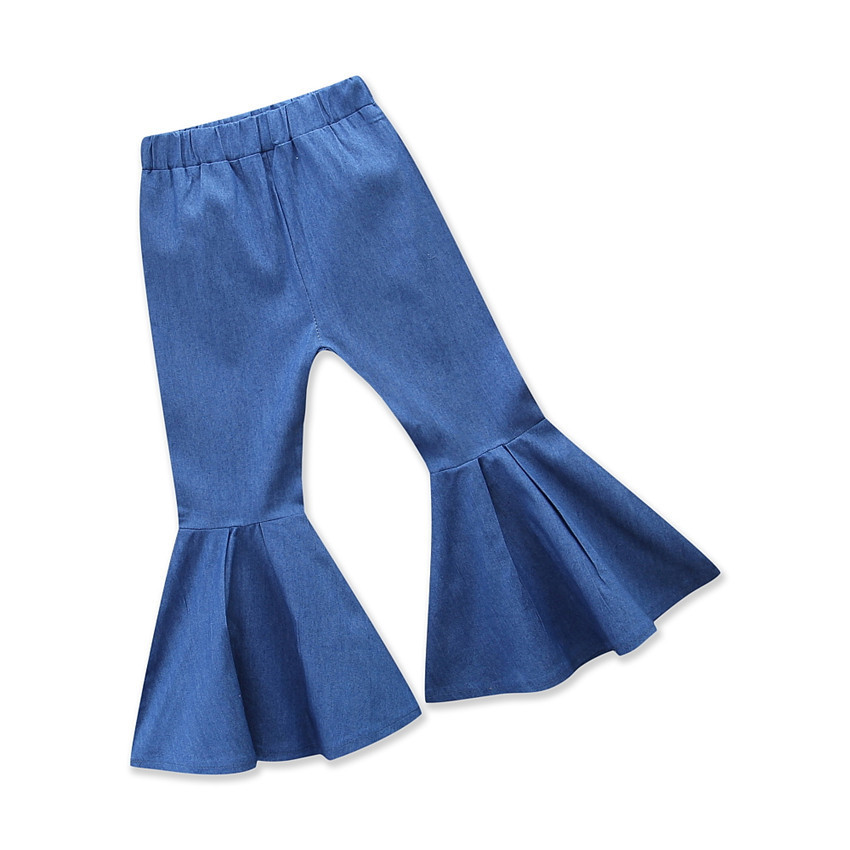 Latest Kids Loose Bell-Bottom European Style Girls Casual Denim Flared Pants