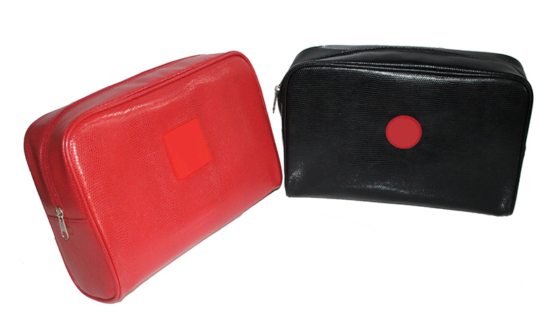 DEQI PU Red And Black Unisex Cosmetic Bag Makeup Storage Bag Travel Toiletry Bag