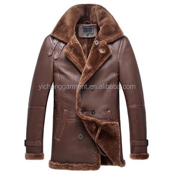 Men Double Breasted Shearling Sheepskin Coat Buy Genuine