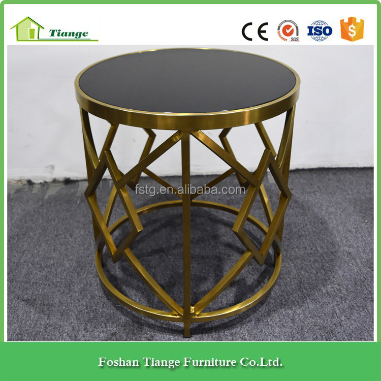 Creative Design Gold Copper Metal Frame Round Side Table