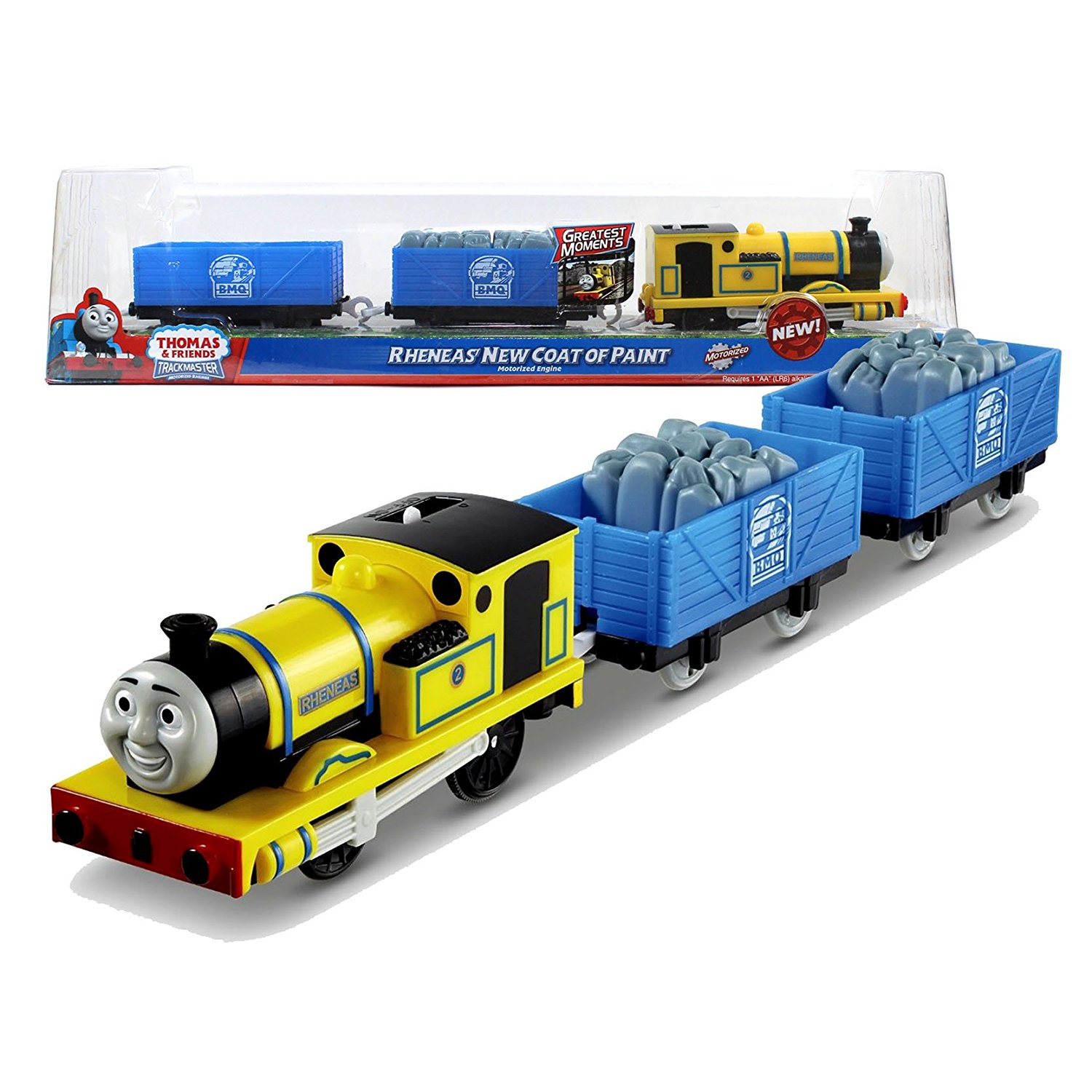 "Fisher Price Year 2012 Thomas and Friends Greatest Moments Series ""Blue Mountain Mystery"" Trackmaster Motorized Railway Battery Powered Tank Engine 3 Pack Train Set - RHENEAS' NEW COAT OF PAINT with Rheneas Engine, Blue Mountain Quarry Truck with Stone and Blue Mountain Quarry Truck (X0765)"