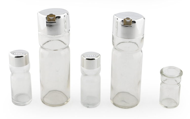 5 sets stainless steel clear glass salt bottle A tiny salt shaker with iron support