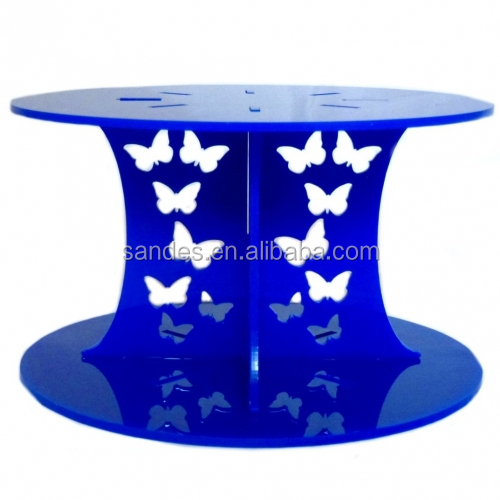 Dark Blue Clear Plastic 2 Tiers Cake Stand with Butterfly Pillar Crystal Cake Stand for Wedding