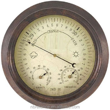 8inch Rustic Style Non Terracotta Outdoor Aneroid Mechanical Garden Barometer Clock With Thermometer Hygrometer Weather Station