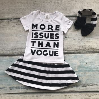 f53f34eec8120 New Summer Black White Striped Baby Girls More Issues Than Vogue Skirt  Outfits Cotton Dress Set Boutique Matching Accessories - Buy High Quality  ...