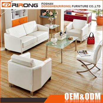 Modern Living Room Furniture Sectional Plaid White Pu Leather Sofa