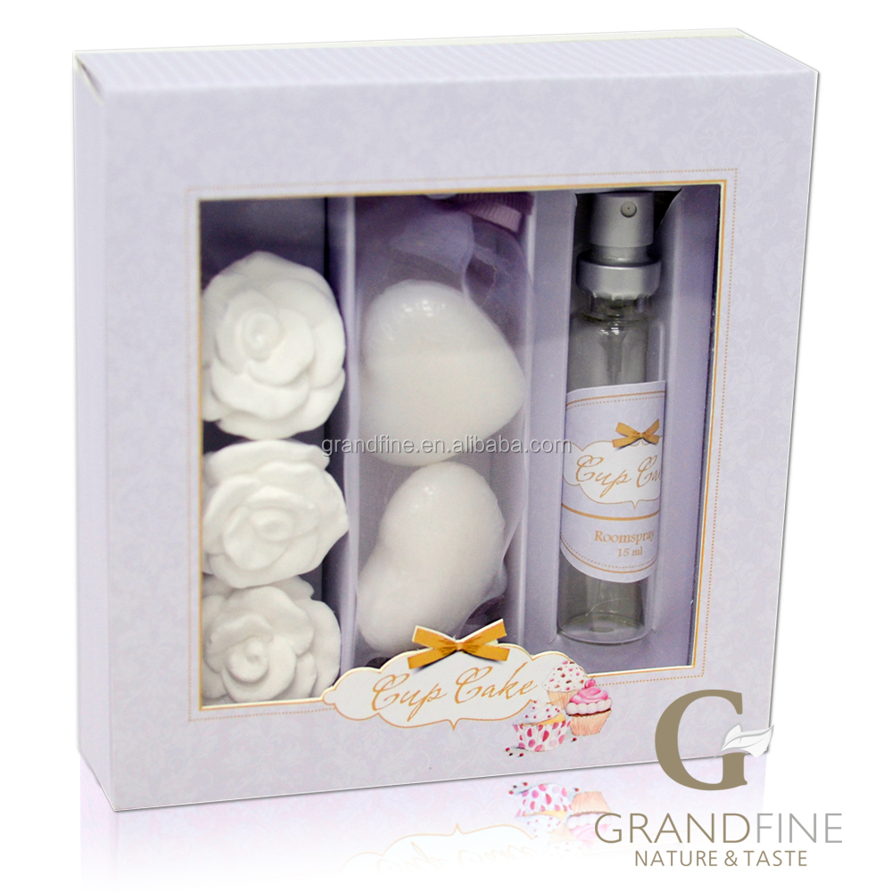 New product 15ml natural essencial oil spray set with flower clay and soap for ladies wedding gifts