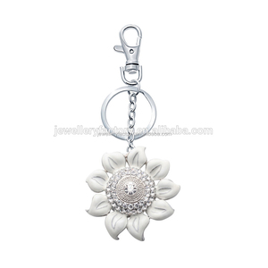 Crystal White enamel Sunflower Keychain For Purse Hook