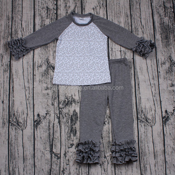 Baby girls long sleeve boutique outfits icing pants 2pcs clothing set grey color simple design cheap clothes online for kids