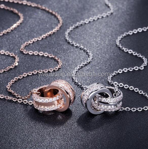 YFY157 Yiwu Huilin Jewelry New Design Custom Rose Gold Silver Double Rings  Crystal Pendant Wedding Ring
