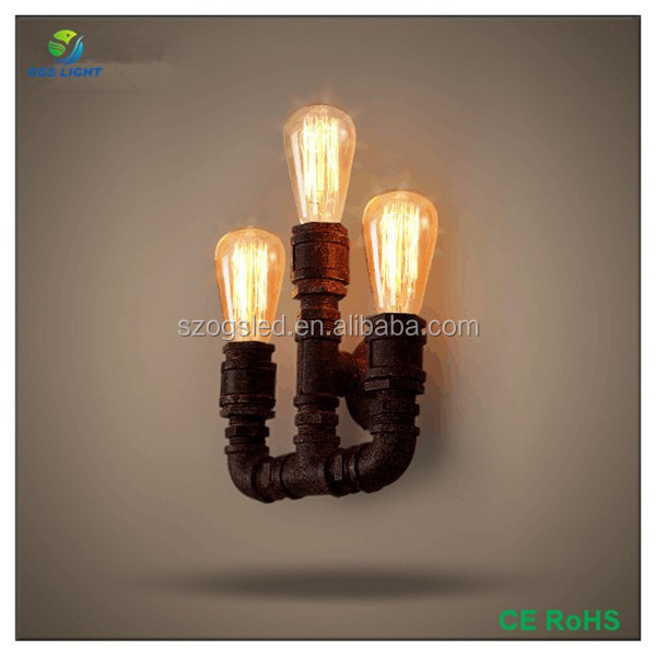 Retro Industrial 3 Heads Wall Sconce Water Pipe Wall Light for Bedroom Decoration