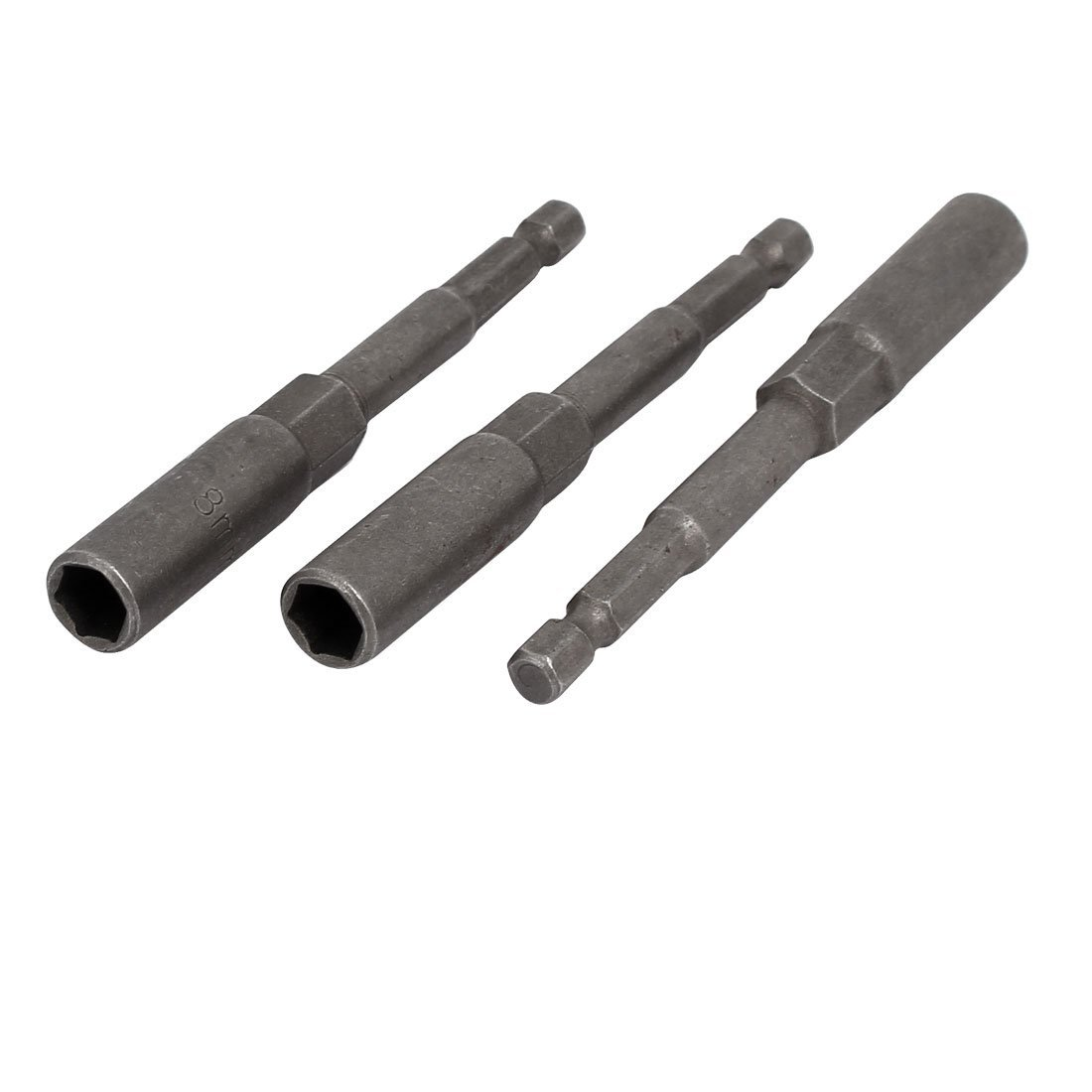 uxcell 8mm 5/16-inch Socket 1/4-inch Hex Shank 100mm Long Nut Drivers Adapter Drill Bit 3pcs