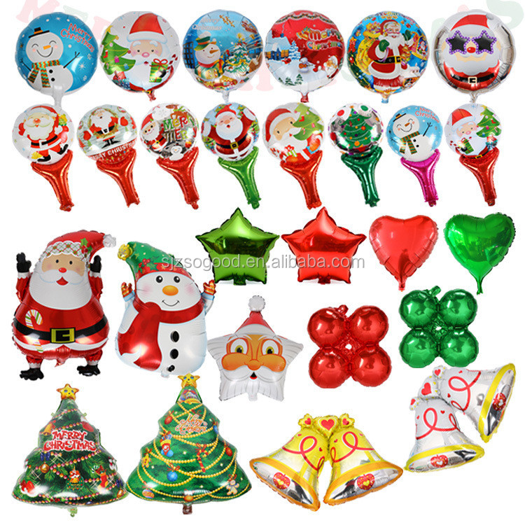 Christmas Series Tree Shape Father Snowman Self Inflating Sealing Aluminium Foil Balloon For Christmas Eve