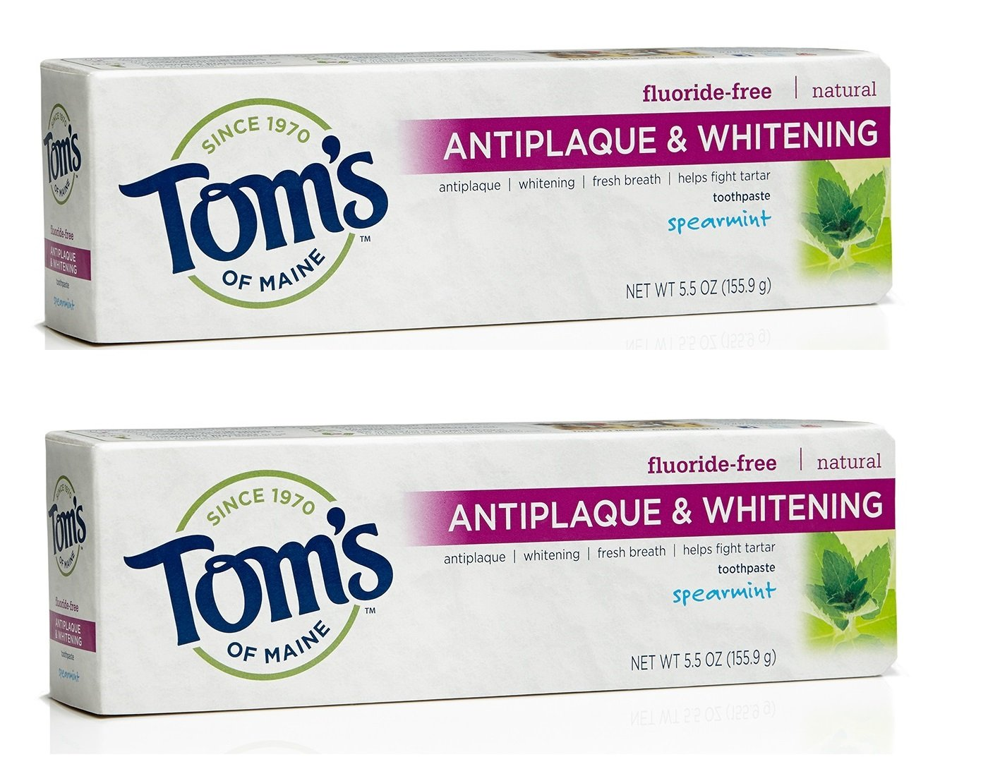 Tom's of Maine Antiplaque and Whitening Fluoride Free Toothpaste, Spearmint, 5.5 Ounce, 2 Count