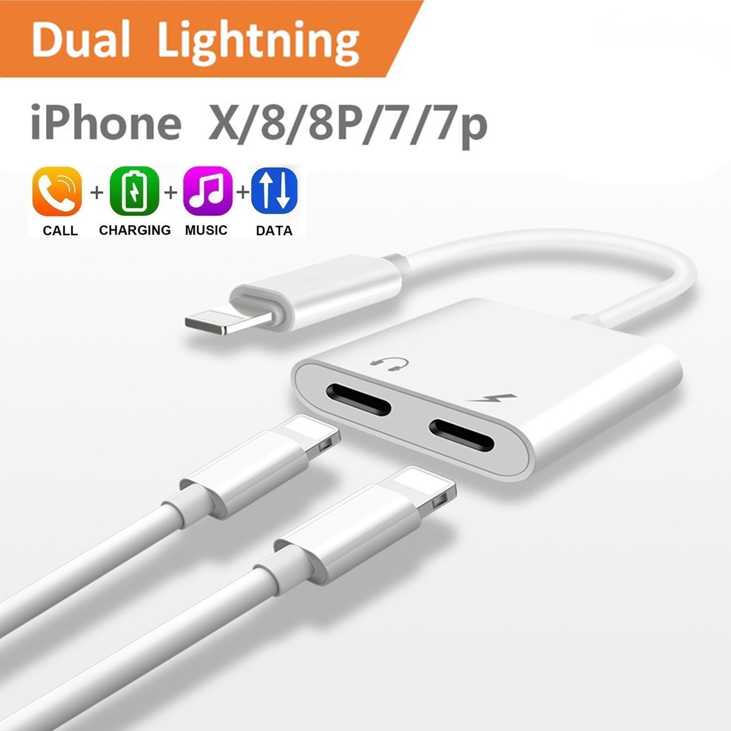 2-in-1 Lightning Splitter Adapter for iPhone 7 / 8 / X / 7 plus / 8 plus, Double lightning ports for dual Lightning Headphone Audio and Charge Adapter. (Compatible IOS 10.3, IOS 11 and Later)-White