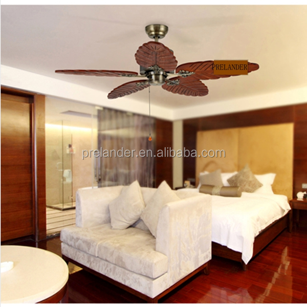 Remote Control Switch electric modern Antique Brass ceiling fan with 5pcs leaf blades