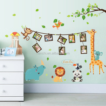 Cartoon Animals Picture Frames Childrens Room Bedroom Stickers